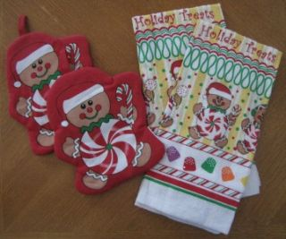 Holiday Kitchen Towel Oven Mitt and Pot Holder Sets 4 Design Choice
