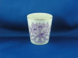 King Edward VII Coronation Beaker Purple Royal Doulton C 1902