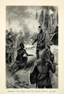 1912 Print King Edward Black Prince French English Battle Crecy Armor