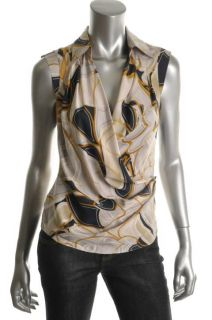 Anne Klein New Multi Color Silk Tango Wrap Cap Sleeves Blouse Top 8