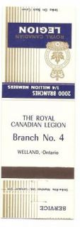 Royal Canadian Legion Matchbook Cover Welland Ontario Branch 4