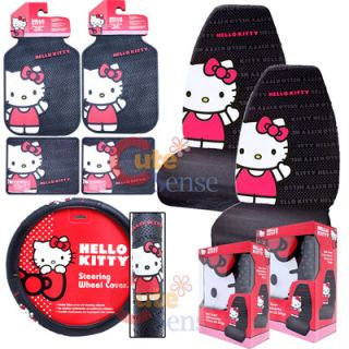 Hello Kitty Core Car Seat Cover auto Accessories Set 7pc 1