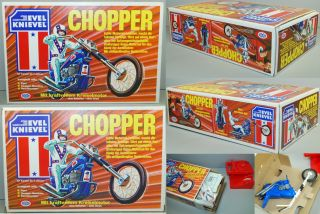 Evel Knievel 1975 Ideal Chopper Large Box Set Arxon Europen
