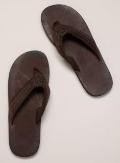 American Eagle AE Mens Classic Leather Flip Flops Sandals Brown