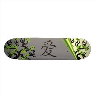 Love Birds On Sakura Tree And Chinese Love Symbol Skate Board Deck