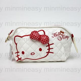 SANRIO Hello Kitty Makeup Bag Purse Leatherette Cosmetic Bag w/ Mirror