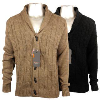 Mens Ben Sherman Cable Knit Shawl Collar Cardigan Mod Retro Smart