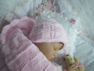 Knitted Lacy Papoose Cocoon Hat Set 0 3M Baby Girl 17 23 Reborn Baby