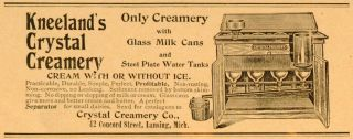 1893 Ad Crystal Creamery Kneeland Milk Can Steel Tank Dairy Farming