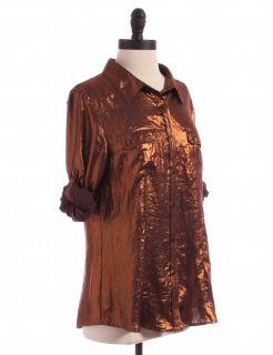 Calvin Klein Bronze Metallic Blouse Sz M Top Brown