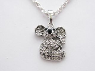 Koala Bear Crystal Fashion Necklace Jewelry