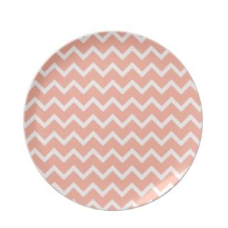 Coral and White Zig Zag Pattern. Dinner Plates
