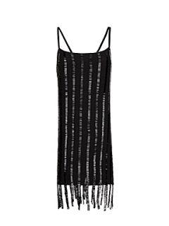 Mango Beaded straps dress Black