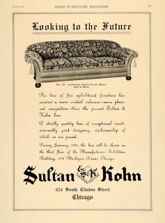1920 Ad Sultan Kohn Furniture Mohair Chicago Upholstery   ORIGINAL