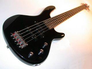Kona 5 String Electric Bass Guitar Black Adj Bridge