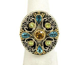 Designer Konstantino Sterling Silver 18K Gold Gems Ladies Ornate Dress