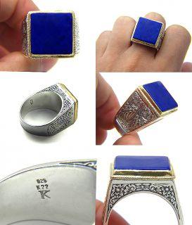 KONSTANTINO BLUE LAPIS LAZULI 22K GOLD .925 STERLING SILVER MENS