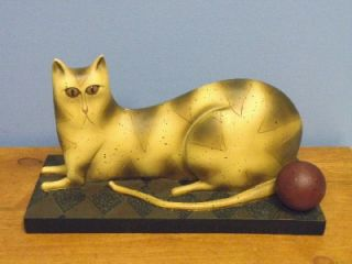 RARE David Harden Folk Art Cat Ball Statue Figurine