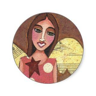 GUARDIAN ANGEL   collage folk art stickers