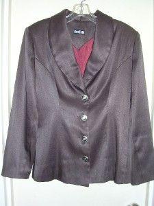 Kovels Chocolate Brown Poly Satin Dress Jacket s EUC