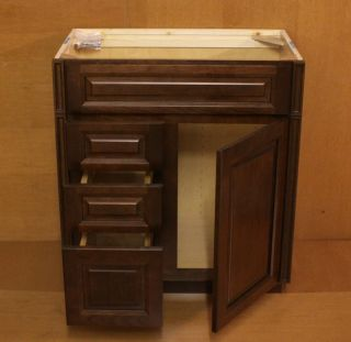 Kraftmaid Cherry Bathroom Vanity Sink Base Cabinet 30 Granite Tops in