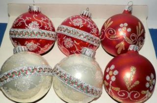 Pearl White Christmas Glass Ornaments Glitter Krebs Crown Caps