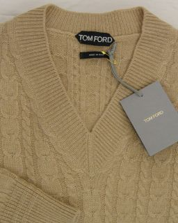 SWEATER $1595 BROWN 100%CASHMERE CABLE KNIT V NECK JUMPER MED 50e NEW