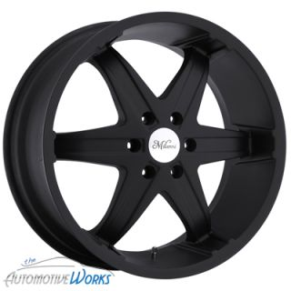 22x9.5 Milanni Kool Whip 6 6x139.7 6x5.5 +18mm Black Wheels Rims Inch