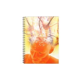 Brain activity, conceptual computer artwork. spiral note book