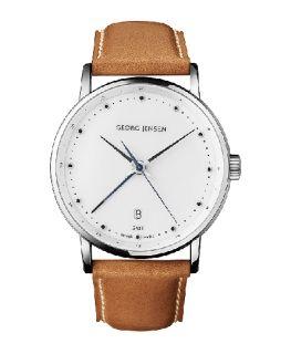 Georg Jensen Mens Dual Time Watch 519 White Dial Koppel