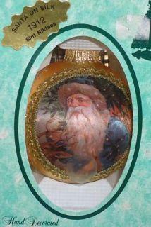 Krebs Santa on Silk St Nick 1912 Christmas Ornament Gold Glitter 1993