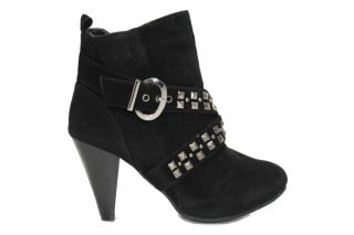 Kristy I 2 Brown Studded Cross Buckle Bootie   Black