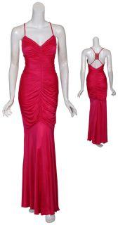 Kurt Thomas Seductive Fuchsia Slinky Knit Ruched Evening Gown Dress 4