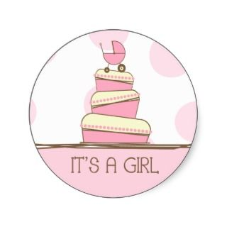 Pink Baby Carriage Cake Its A Girl Sticker