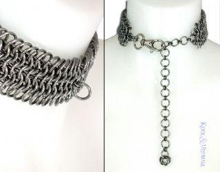Wide Steel Chain Mail Slave Collar by Sinpatiko Goth Punk Emo