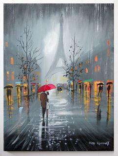 Pete Rumney Art Rain in Paris Eiffel Tower Original Painting Red
