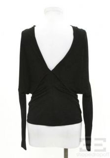 Agence Black Shimmer Draped Neck Long Sleeve Top Size XS New