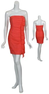 Kurt Thomas Vibrant Coral Silk Ruched Cocktail Evening Dress New