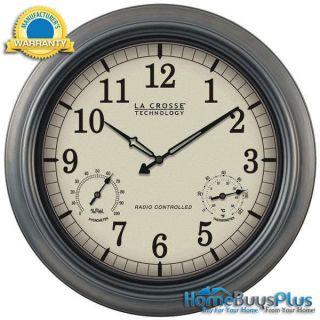 La Crosse Technology WT 3181P Indoor Outdoor 18 Atomic Wall Clock
