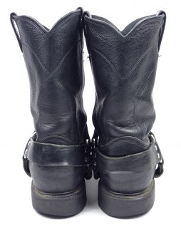 Vintage Justin 4703 Black Motorcycle Biker Harness Boots 10 EE Made in