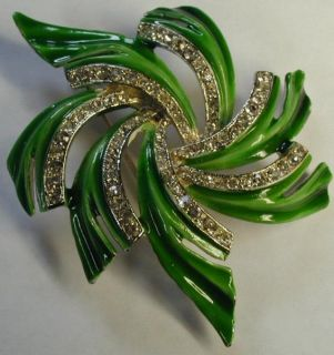 Vintage Jewelry Brooch Signed Kramer Bright Green Enamel Rhinestone