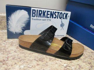 Birkenstock Sydney 2 Strap Sandal Black Patent New with Box