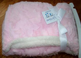 Kyle Deena Pink Plush Soft Butterfly Embellished Baby Blanket New