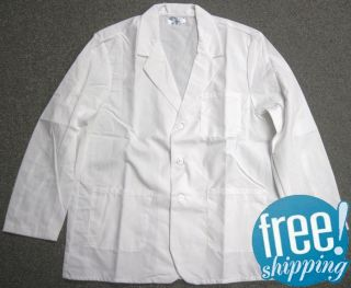 New Mens White Lapel Medical Counter Lab Coat L 3XL