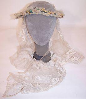 Antique Orange Blossom Wax Flower Wreath Bobbin Lace Net Wedding Veil