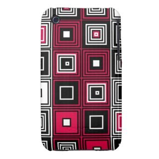 Red White black retro mod pattern iPhone 3 Case Mate Cases
