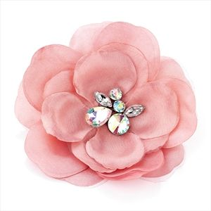 Ladies Girls Large Layered Flower Chunky Crystal Pin Brooch Hijab