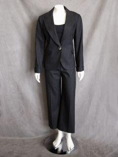 Lafayette 148 New York Black & Cream Streaked Virgin Wool Jacket Pant
