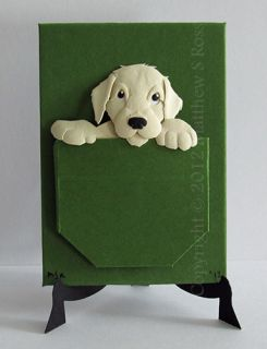 Yellow Labrador Puppy Dog Original ACEO Small Paper Sculpture by