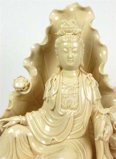 Blanc de Chine Kwan Yin Statue 9 Lotus Throne Porcelain